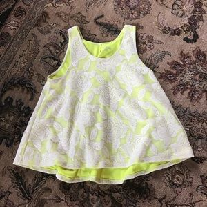 Bright green floral lace swing top L 12/14